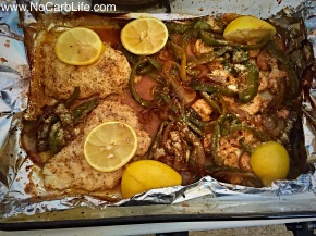 Low Carb Parmesan Crusted Snapper and Shrimp Bake