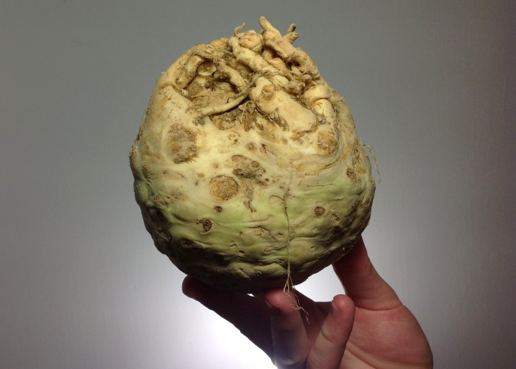 The far from pretty celeriac. Darn tasty though...