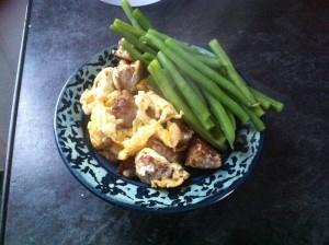 pork meatballs scrambled eggs